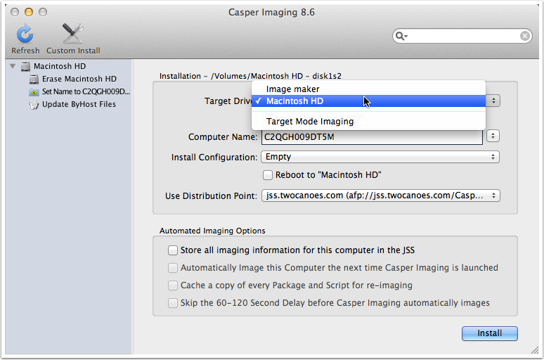 Select the target drive for imaging