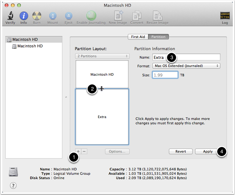 Disk Utility Showing Partitioning Screen Shot
