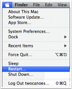 Apple Menu Showing Restart Option