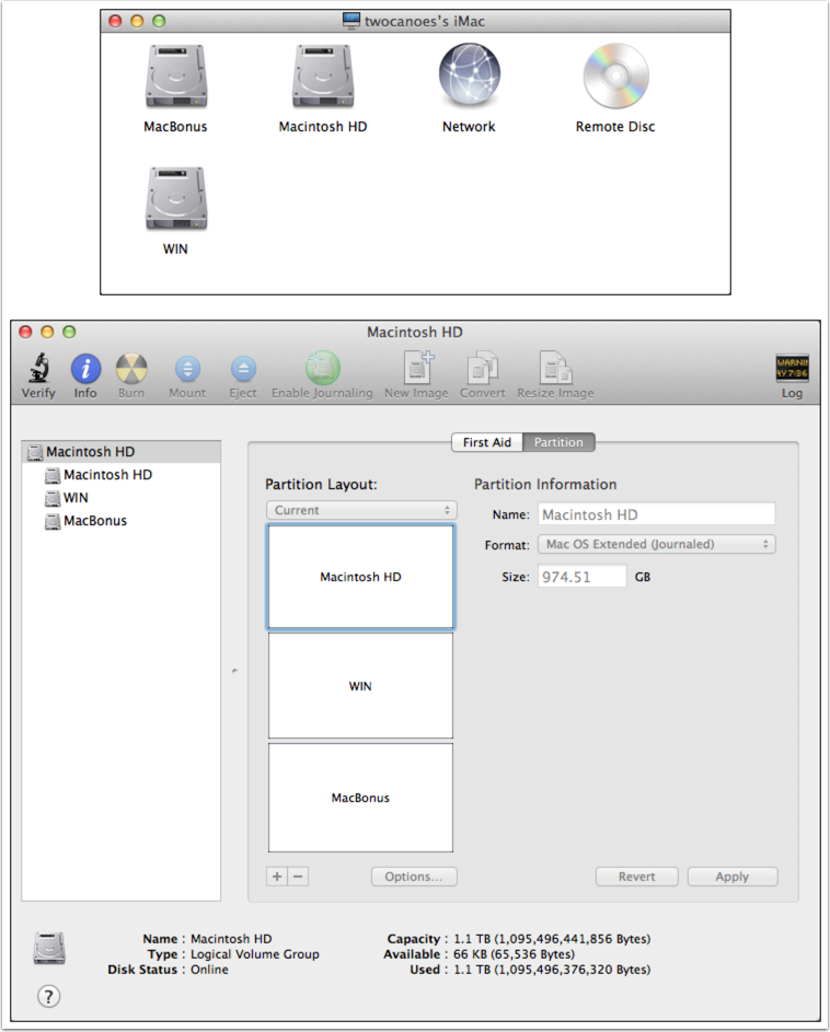Finder Window and Disk Utility showing new partitions