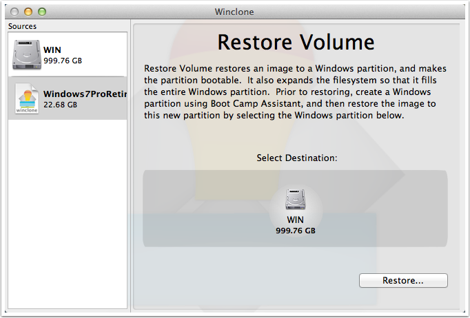 Winclone screen shot showing Restore Volume