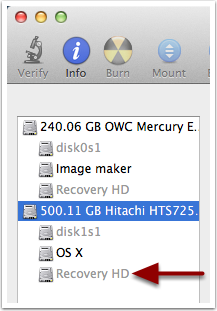 Disk Utility - Recovery HD