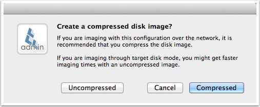 Choose uncompressed or compressed disk image