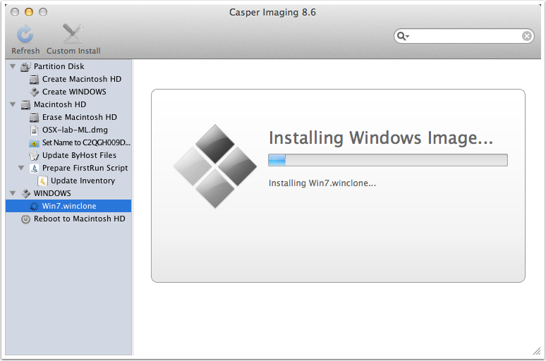 After OS X image completes, Winclone image copying begins