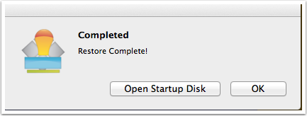 completion and startup disk
