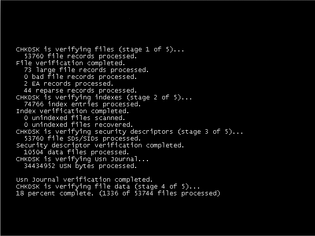 CHKDSK output after reboot