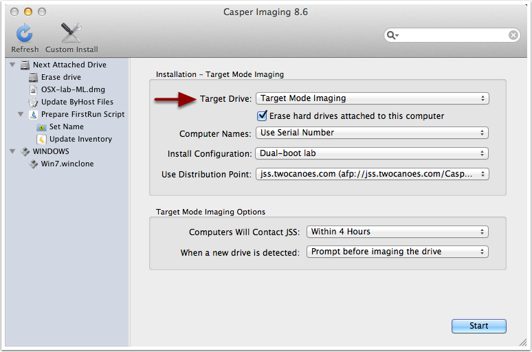 using Target Mode imaging in Caspar Imaging