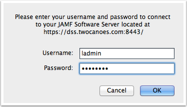 authenticate to the JSS server