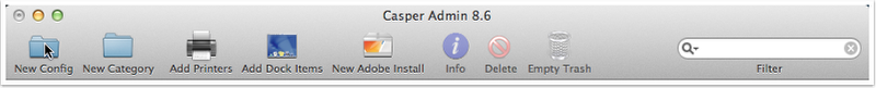 In the Casper Admin toolbar, click New Config.