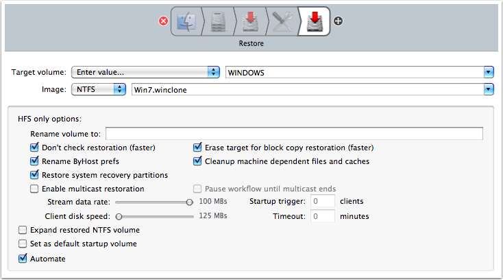 Configure Restore task.