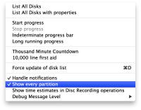 Disk Utility Debug Menu
