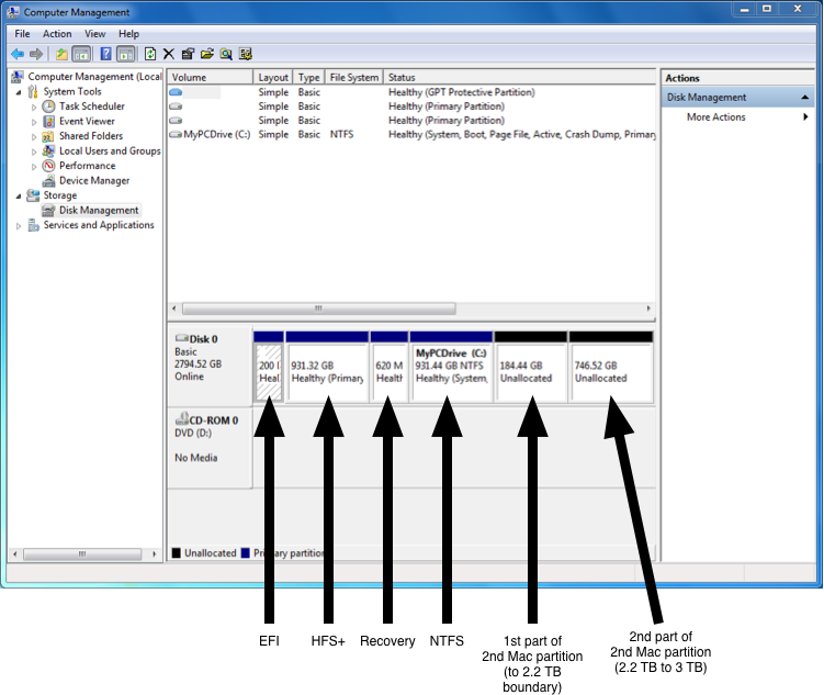 Windows Disk Management Screen Shot