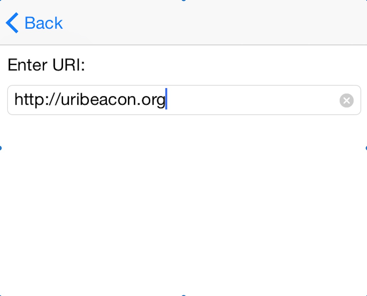 screenshot iOS URI beacon configuration enter URI to program beacon